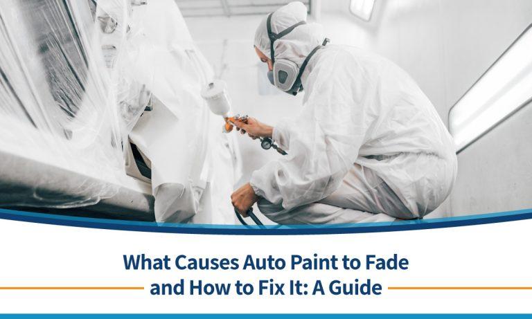 technician fixing auto paint on a vehicle
